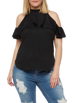 Plus Size Ruffled Cold Shoulder Top - 3810020626682