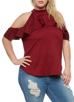 Plus Size Ruffled Cold Shoulder Top - WINE - 3810020626682