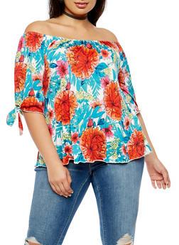 Plus Size Floral Off the Shoulder Tie Sleeve Top - 3810020627224