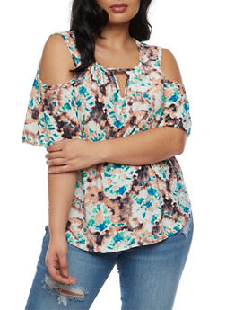 Plus Size Cold Shoulder Printed Peasant Top - 3810020627757