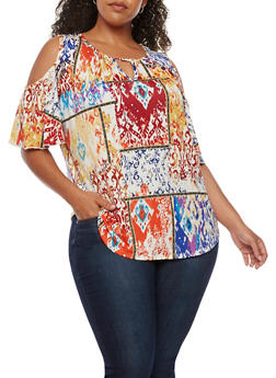Plus Size Printed Cold Shoulder Top - RUST - 3810020627765