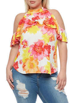 Plus Size Floral Cold Shoulder Top with Ruffle Overlay - 3810020628476