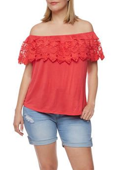 Plus Size Off the Shoulder Top with Scallop Crochet Overlay - 3810035049347