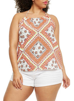 Plus Size Printed Halter Top - 3810054263489