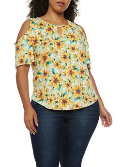 Plus Size Cold Shoulder Floral Top - 3810054264791