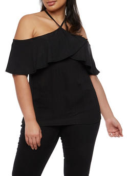 Plus Size Cold Shoulder Ruffle Halter Top - 3810054264834