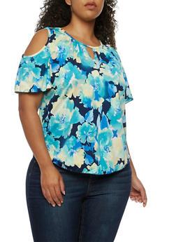 Plus Size Cold Shoulder Keyhole Floral Top - 3810054264971
