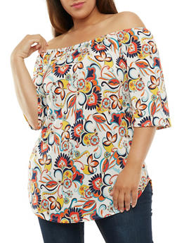 Plus Size Printed Off the Shoulder Tunic - 3810054264975