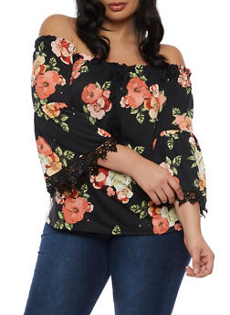 Plus Size Floral Print Off the Shoulder Top with Crochet Trim - 3810054265027