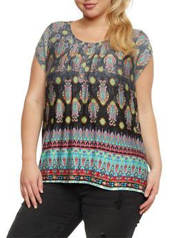 Plus Size Border Print Top with Crochet Panel - 3810058756795