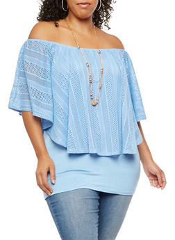 Plus Size Crochet Off the Shoulder Top - 3810058758496