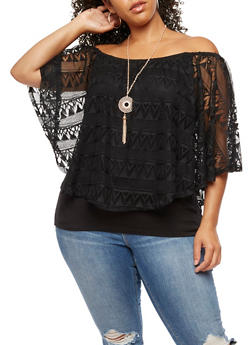 Plus Size Crochet Overlay Off the Shoulder Top - 3810058759021