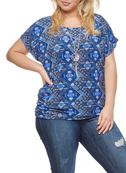 Plus Size Printed Top with Necklace - 3810058759403