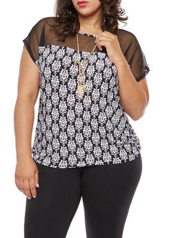 Plus Size Printed Mesh Top with Necklace - 3810058759404