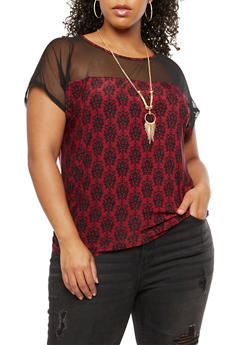 Plus Size Printed Mesh Top with Necklace - BURGUNDY/BLACK - 3810058759404
