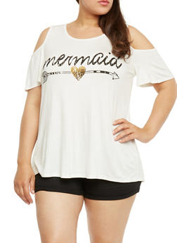 Plus Size Cold Shoulder Top with Mermaid Graphic - 3810061359645