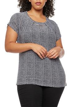 Plus Size Printed Short Sleeve Top with Metallic Detail - BLACK - 3810073050266