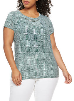 Plus Size Printed Short Sleeve Top with Metallic Detail - 3810073050266