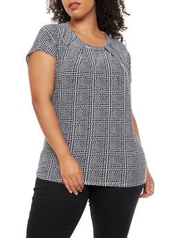 Plus Size Printed Short Sleeve Top with Metallic Detail - BLACK - 3810073056602
