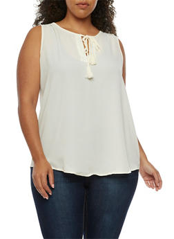 Plus Size Solid Sleeveless Top with Tassels - OFF WHITE - 3811051066897