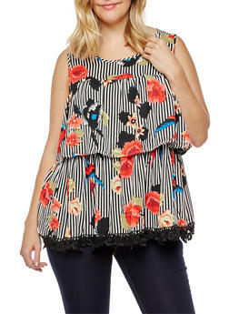 Plus Size Striped Floral Layered Tank Top with Crochet Trim - 3811051069470