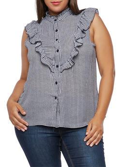 Plus Size Sleeveless Gingham Ruffle Shirt - BLACK/WHITE - 3811051069593