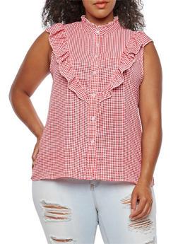 Plus Size Sleeveless Gingham Ruffle Shirt - 3811051069593