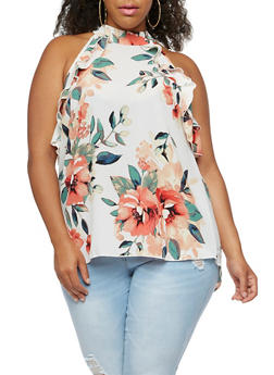 Plus Size Ruffled High Neck Sleeveless Printed Top - 3811054265090