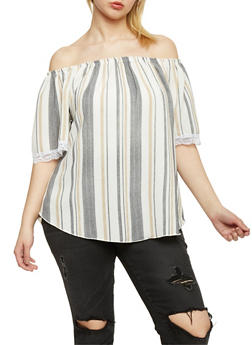 Plus Size Striped Off the Shoulder Lace Trimmed Top - 3812020627566