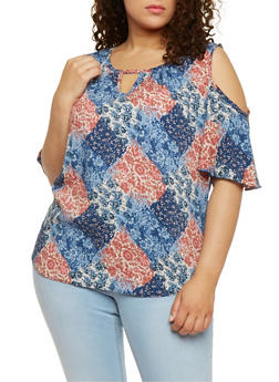 Plus Size Printed Cold Shoulder Top with Flutter Sleeves - 3812020627756