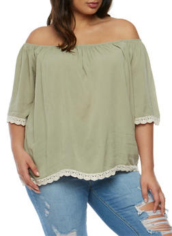 Plus Size Off the Shoulder Peasant Top with Crochet Trim - 3812035043232