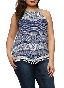 Plus Size Crochet Trim Printed Tank Top - BLUE FLORAL - 3812051066893
