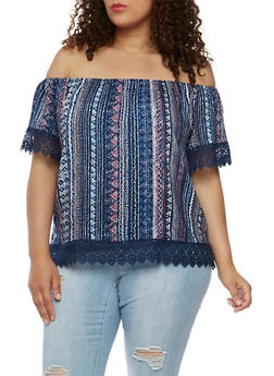 Plus Size Printed Off the Shoulder Top with Crochet Trim - NAVY - 3812051066905