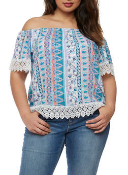 Plus Size Printed Off the Shoulder Top with Crochet Trim - AQUA - 3812051066905
