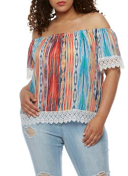 Plus Size Printed Off the Shoulder Top with Crochet Trim - BLUE - 3812051066905