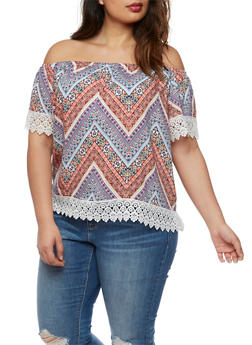 Plus Size Printed Off the Shoulder Top with Crochet Trim - MULTI COLOR - 3812051066905