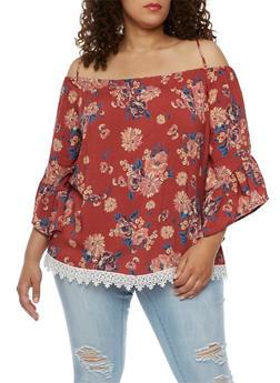 Plus Size Floral Off the Shoulder Crochet Trim Top - 3812051066939