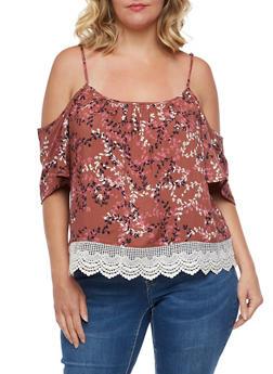 Plus Size Cold Shoulder Floral Top with Crochet Trim - 3812051068981