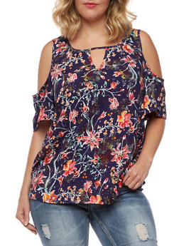 Plus Size Cold Shoulder Printed Top - NAVY - 3812051069195