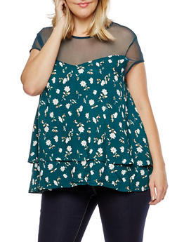 Plus Size Floral Mesh Yoke Layered T Shirt - 3812051069361