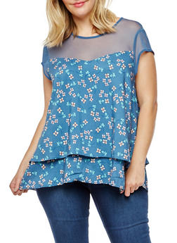 Plus Size Floral Mesh Yoke Layered T Shirt - DENIM - 3812051069361