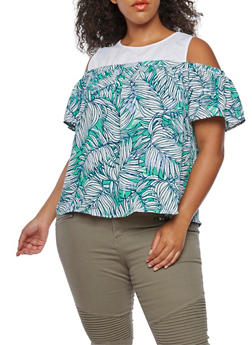 Plus Size Floral Contrast Cold Shoulder Top - 3812051069465