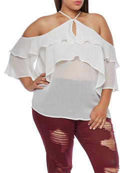 Plus Size Off the Shoulder Ruffle Top - IVORY - 3812051069523