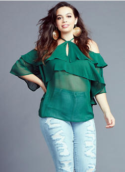 Plus Size Off the Shoulder Ruffle Top - 3812051069523