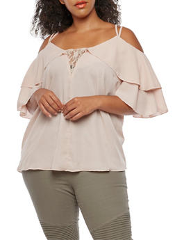 Plus Size Cold Shoulder Blouse with Lace Accent and Ruffled Sleeves - 3812051069532