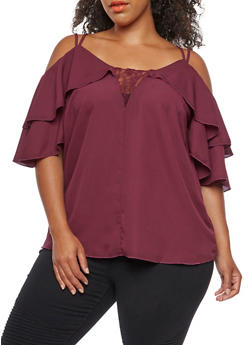Plus Size Cold Shoulder Blouse with Lace Accent and Ruffled Sleeves - BURGUNDY - 3812051069532