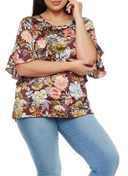 Plus Size Short Sleeve Ruffled Floral Blouse - 3812051069537