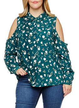 Plus Size Floral Cold Shoulder Button Front Top - 3812051069540