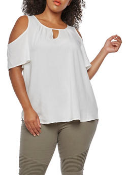 Plus Size Cold Shoulder Solid Top - IVORY - 3812051069591