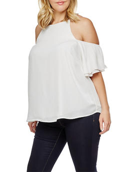 Plus Size Cold Shoulder Top with Layered Sleeve - 3812051069594